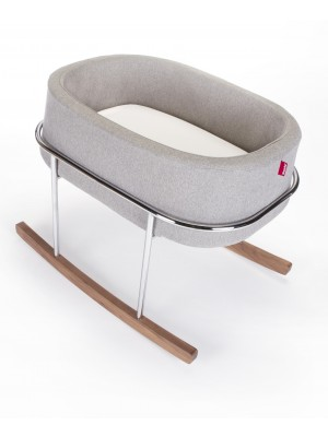 Monte Rockwell Chrome Stand Bassinet Grey/Walnut